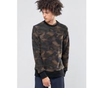 Pullover mit Kragen und Tarnmuster aus Walkstoff Schwarz