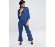 Pyjama-Overall aus Denim mit weitem Bein Blau