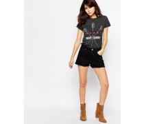 Jeansshorts mit ausgefranstem Saum Schwarz