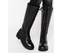 Klobige kniehohe Schnürstiefel aus Leder Schwarz