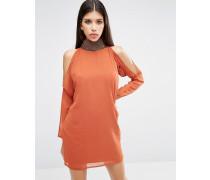 Schulterfreies langärmliges Minikleid mit Verzierung Orange