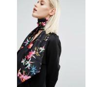 Black Skinny-Schal/Kopftuch mit Blumenmuster Schwarz