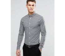 Langärmliges, schmales Hemd mit schwarzem Karomuster Schwarz