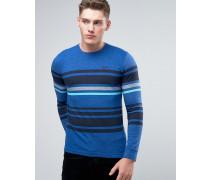 Langärmliges, gestreiftes T-Shirt mit Rundhalsausschnitt Blau