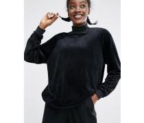 Oversized-Pullover aus Samt Schwarz