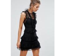 Minikleid aus Spitze mit Lagen und Rüschen Schwarz