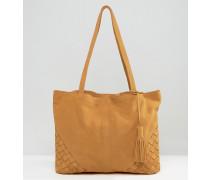Shopper-Tasche aus Wildleder mit gewebten Ecken Bronze