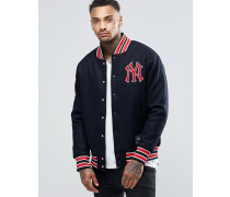 Yankees Letterman Wolljacke Marineblau