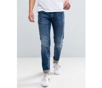 Anbass Schlanke Stretch-Jeans mit Reißverschlusstasche in dunkler Waschung Marineblau