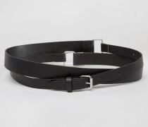 Doppelt gewickelter Ledergürtel Schwarz