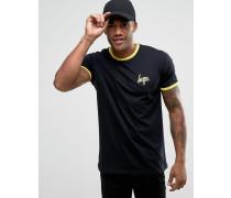 Ringer-T-Shirt Schwarz