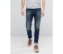 Enge, gefärbte Jeans in dunkler Altblau-Waschung Blau