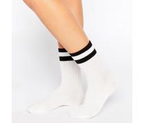 Socken mit zwei College-Streifen Weiß