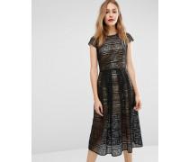 Formendes Kleid aus Spitze mit Unterkleid in Gold-Metallic Schwarz
