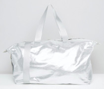 LIFESTYLE Lockere Reisetasche in Metallic Silber