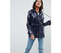 Regenjacke zum Überziehen mit Kapuze aus glänzendem Stoff Mehrfarbig