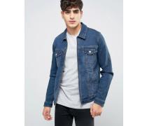 Enge Western-Jeansjacke mit durchgehendem Reißverschluss in mittlerer Waschung Blau