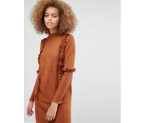 Pullover mit Rüschen, Kombiteil Kupfer