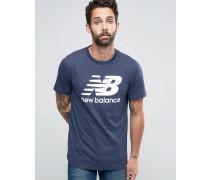 Klassisches blaues T-Shirt mit Logo, MT63554_NV Blau