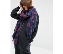 Übergroßer, leichter Schal mit strukturiertem Nadelstreifendesign Marineblau
