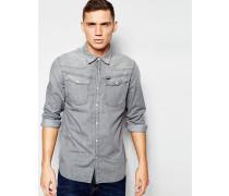 3301 Leichtes, graues Jeanshemd im Western-Stil, reguläre Passform Grau