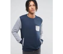 Pullover mit Rundhalsausschnitt und Tasche Blau