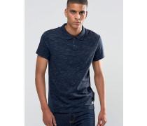 Schmal geschnittenes Ausbrenner-Polohemd Marineblau