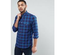 Kariertes Flanellhemd mit zwei Brusttaschen Blau