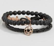 Armbänder in Schwarz/Roségold mit Anker- und Perlendesign Schwarz