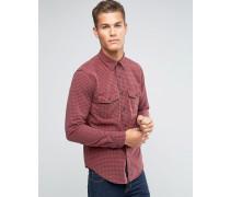 Hemd mit Button-Down-Kragen und rotem Karomuster Rot