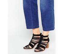 Riemchen-Sandalen mit Blockabsatz Schwarz