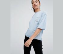 """Lässiges T-Shirt im Kastenschnitt mit Stickerei """"Live your Dream Blau"""