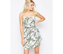 Bandeau-Kleid mit kleinem Blumenprint Cremeweiß