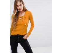 Strickpullover mit Schnürung Gelb