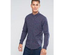 Schmales, blau kariertes Oxford-Hemd mit Knopfleiste Blau