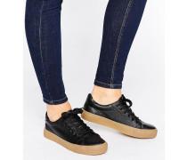 Kunstleder-Sneaker mit kontrastierender Plateausohle Schwarz