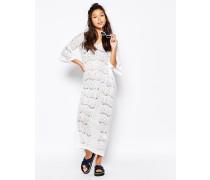 Maxi-Strandkleid aus Spitze Weiß