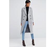 Mantel aus Wollmischung mit abgeschnittenen Kanten und Tasche Grau