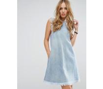 Denim-Kleid mit Fransensäumen Blau