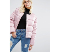 Übergroße, wattierte Jacke ohne Kragen aus luxeriösem Satin Rosa