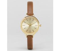 Klassische Uhr mit schmalem Armband Braun