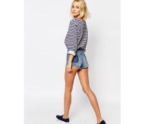 Abgeschnittene Shorts mit Hintertaschen-Detail Blau