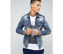 Jeansjacke mit Einsätzen und Rissflicken Blau