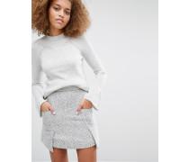 Ausgestellter Pullover mit Bündchen Grau