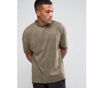T-Shirt in Wildlederoptik mit tief angesetzten Schultern Grün
