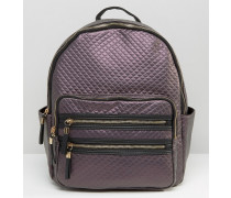 Stepprucksack in Metallic-Optik Violett