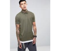Lang geschnittenes Polohemd mit Saumverlängerung in Grün und Weiß Mehrfarbig