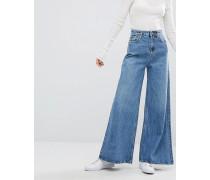 Jeans in A-Form mit weitem Bein Blau