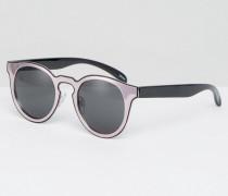 Katzenaugen-Sonnenbrille mit Blockstreifen Rosa