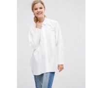 Oversized-Hemd mit doppelten Bündchen Weiß